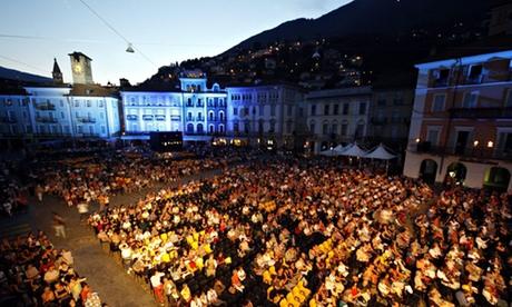Cinema fans crowd the Piazza Grande at the Locarno film festival